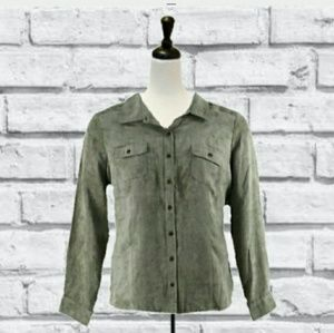 3/$15 SUEDE LOOK GREEN BUTTON DOWN SHIRT